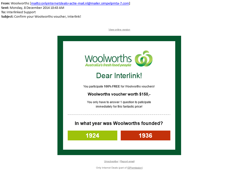 Woolworths Scam Email