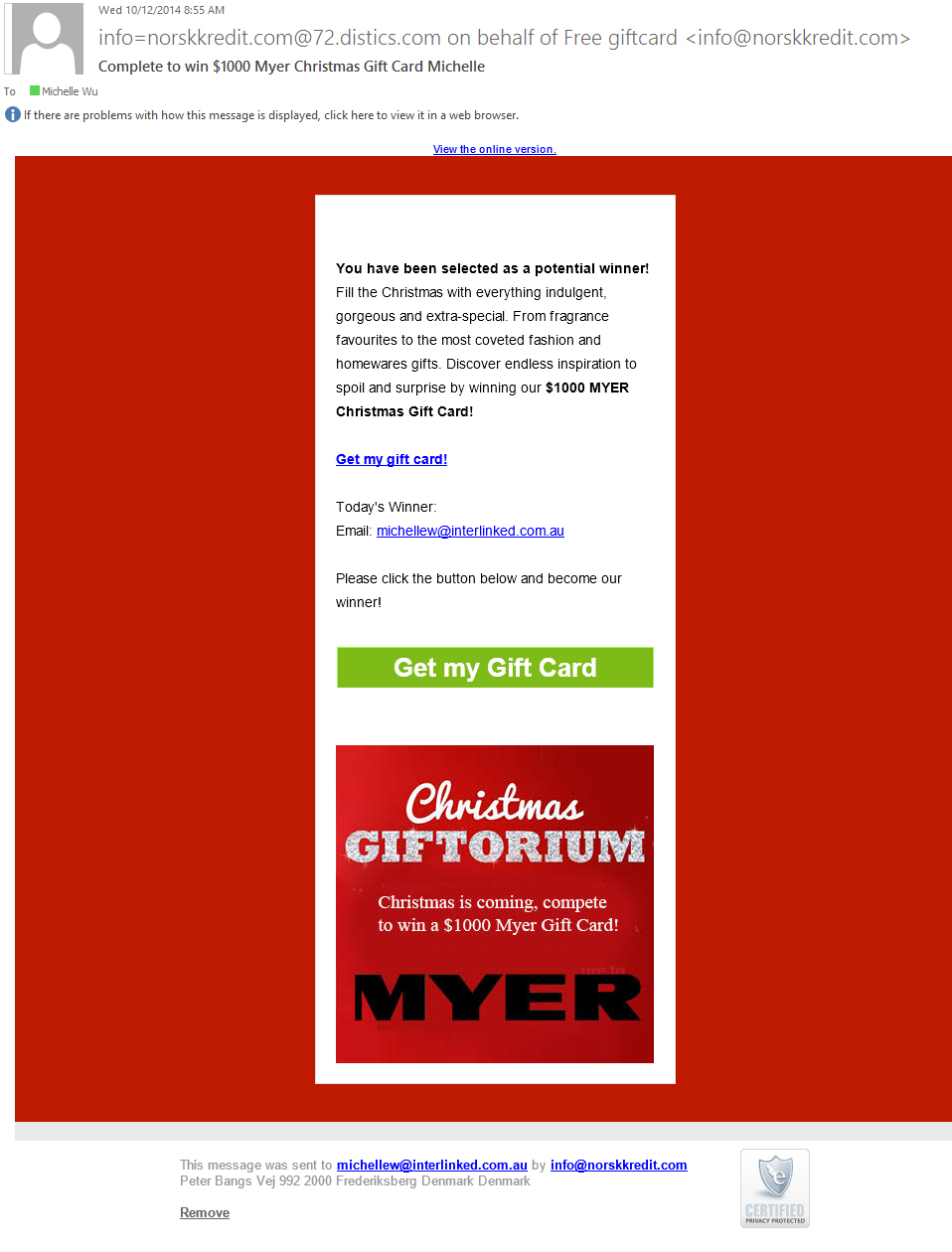 Myer Scam