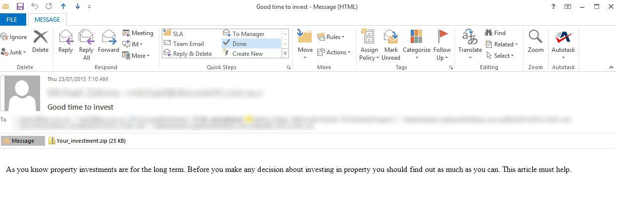 Virus Email Screenshot